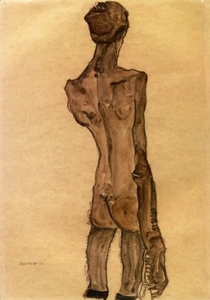 Egon Schiele - Standing Male Nude, Back View