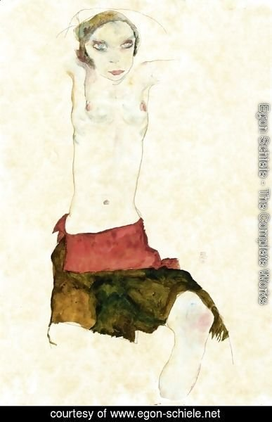 Egon Schiele - Semi-Nude with Colored skirt and Raised Arms