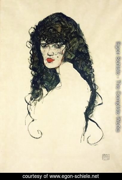 Egon Schiele - Portrait of a Woman with Black Hair