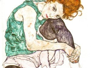 Egon Schiele - Sitting Woman with Legs Drawn Up