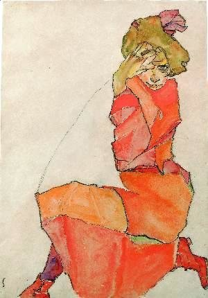 Kneeling Girl in Orange-Red Dress