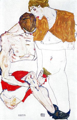 Egon Schiele - Courting couple