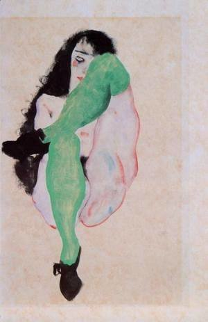 Egon Schiele - Girl with Green Stockings
