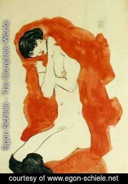 Egon Schiele - Girl with Red Blanket