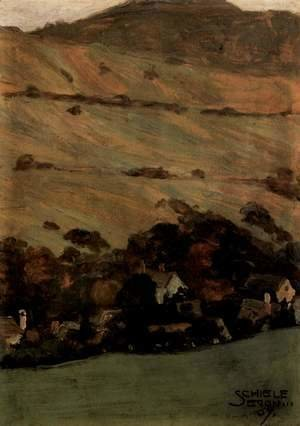Egon Schiele - Houses before mountain slope