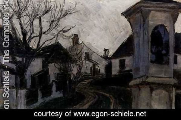 Egon Schiele - Monastery new castle, bald trees and houses