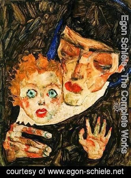 Egon Schiele - Mother and son