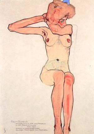 Egon Schiele - Nude woman hair-dressing