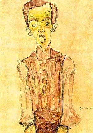 Egon Schiele - Portrait with an open mouth