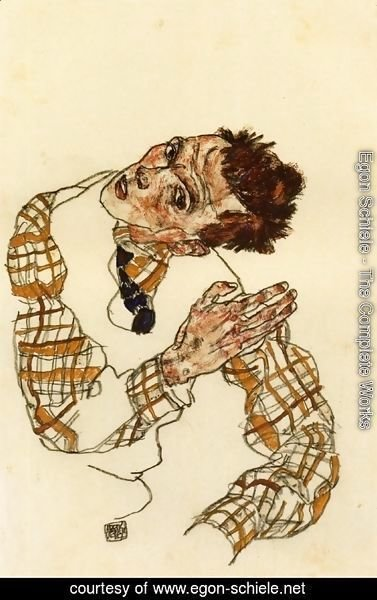Egon Schiele - Self Portrait in Checkered Shirt