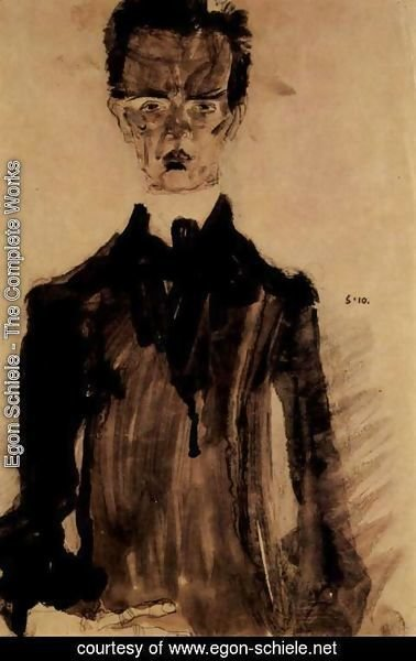 Egon Schiele - Selfportrait in the black garment