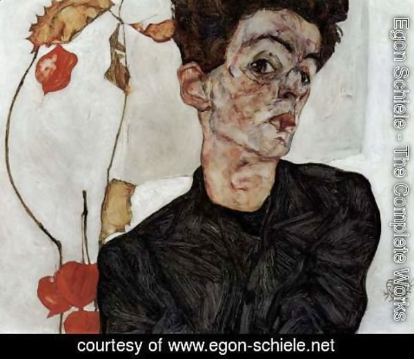 Egon Schiele - Selfportrait with Chinese lantern fruits