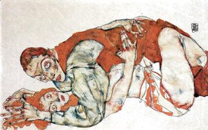 Egon Schiele - Sexual act, study