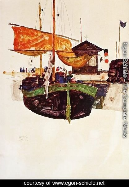 Egon Schiele - Ships at Trieste