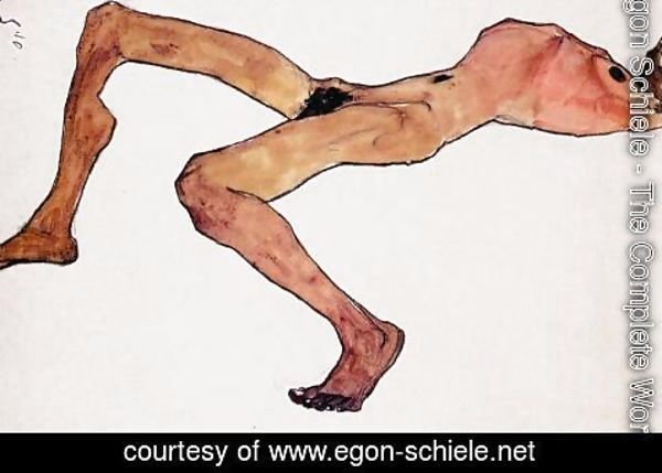 Egon Schiele - Sitting male act