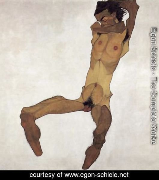 Egon Schiele - Sitting male act 2