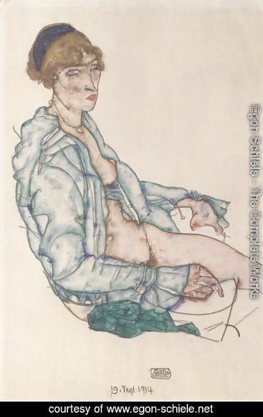 Egon Schiele - Sitting woman with blue hair ribbon