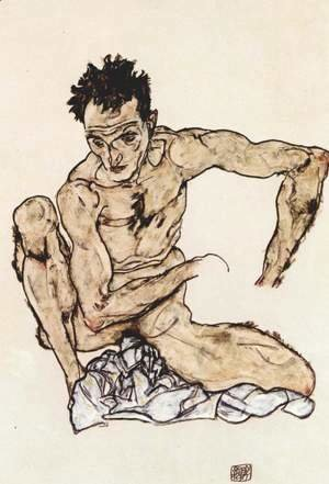 Egon Schiele - Squatting male act (selfportrait)