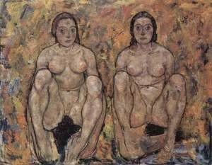 Egon Schiele - Squatting women's pair