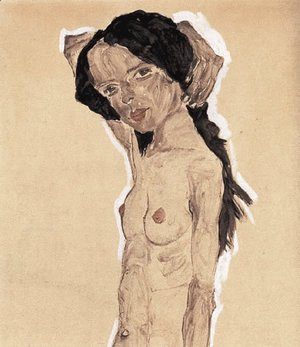 Egon Schiele - Standing nude young girl