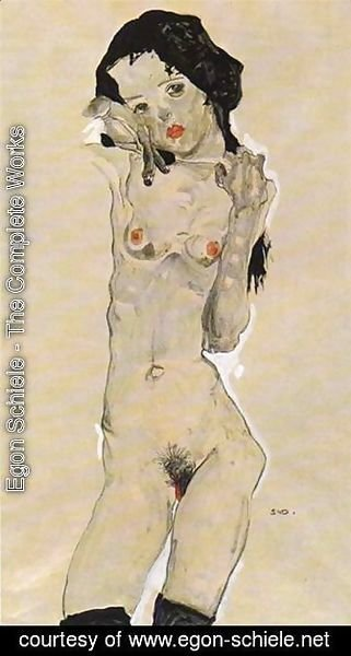 Egon Schiele - Standing nude young girl 2