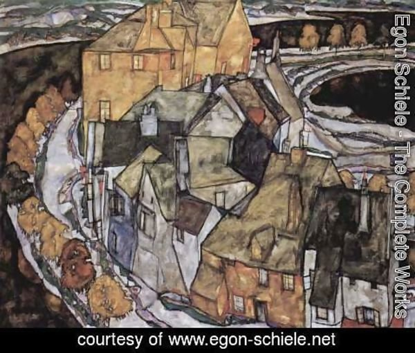 Egon Schiele - The House-Bend, or Island City (literally, the house-elbow)