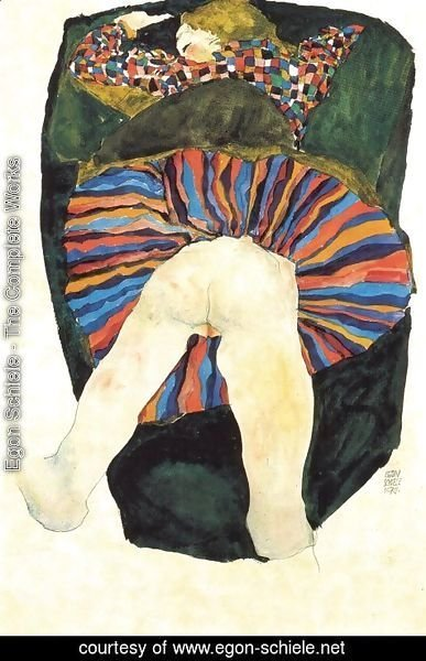 Egon Schiele - Vast half bare woman 1911