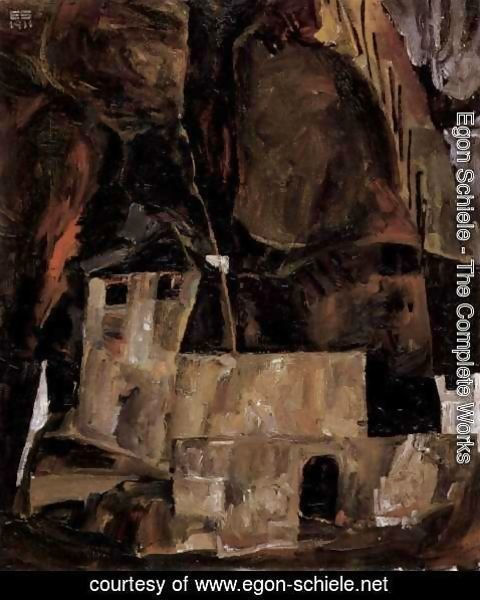 Egon Schiele - Wall and house before hügligem ground with fence