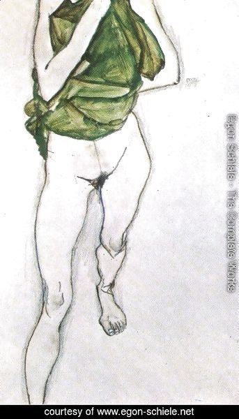Egon Schiele - Woman in the green blouse 1913