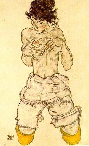 Egon Schiele - Woman touching her breast