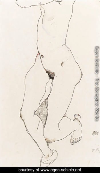 Egon Schiele - Prostrate Female Nude
