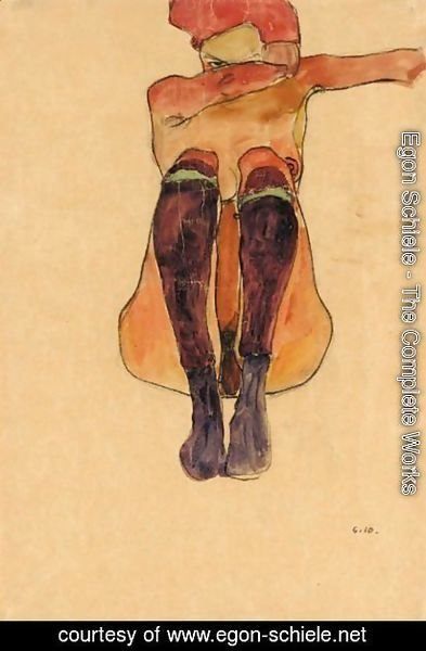 Egon Schiele - Sitzender Akt Mit Lila Strumpfen (Seated Nude With Violet Stockings)