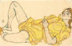 Egon Schiele - Liegende Frau In Gelbem Kleid (Reclining Woman In Yellow Dress)