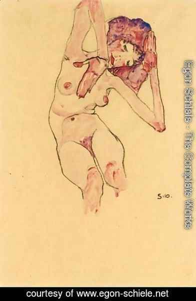 Egon Schiele - Sitzender Frauenakt Mit Geneigtem Kopf Und Erhobenen Armen (Seated Female Nude With Tilted Head And Raised Arms)
