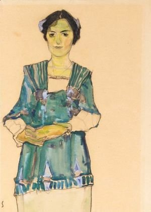 Egon Schiele - Madchen Mit Gestreifter Bluse (Girl With Striped Blouse)