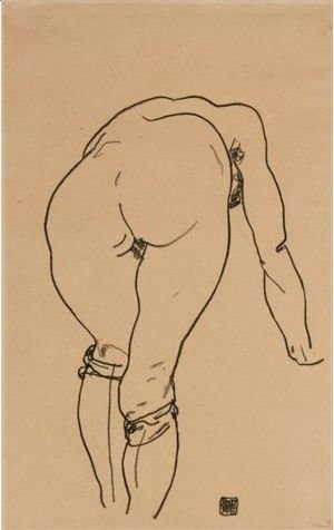 Gebueckter Akt, Rueckenansicht (Nude Bent Over, Back View)