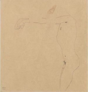 Egon Schiele - Mannlicher Akt Mit Nach Links Ausgestrecktem Armen (Male Nude With Outstreched Arms)
