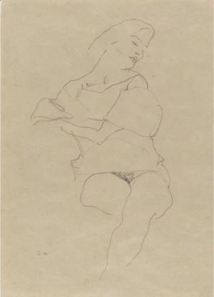 Egon Schiele - Sitzende Frau Mit Hochgeschobenem Rock (Seated Woman With Raised Skirt)