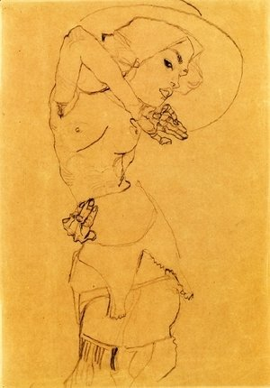 Egon Schiele - Standing Nude With Large Hat (Gertrude Schiele)