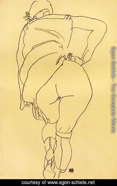 Egon Schiele - Semi-Nude, Back View