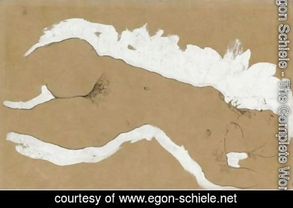 Egon Schiele - Female Nude With White Border