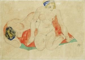Egon Schiele - Reclining And Seated Female Nudes On A Red And Green Cloth