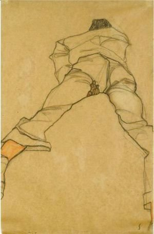 Egon Schiele - Man Lying On His Stomach