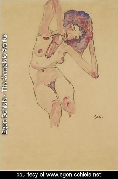 Egon Schiele - Sitzender Frauenakt Mit Geneigtem Kopf Und Erhobenen Armen (Seated Female Nude With Tilted Head And Raised Arms) 2