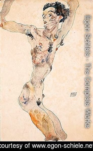 Male nude with raised arms - self-portrait