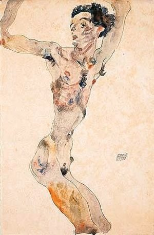 Egon Schiele - Male nude with raised arms - self-portrait