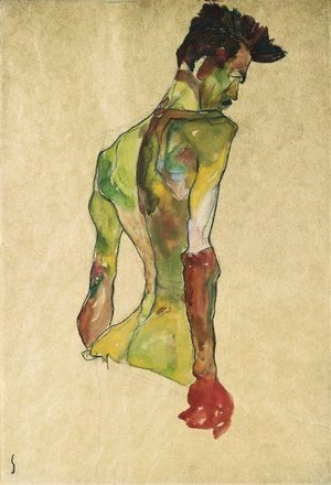 Egon Schiele - Male Nude in Profile Facing Right