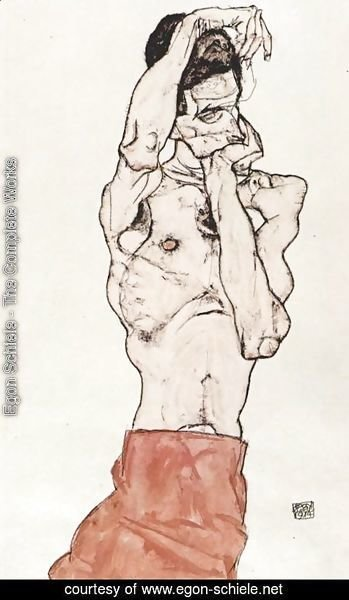 Egon Schiele - Male Nude with red scarf