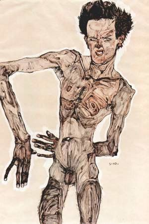 Egon Schiele - Male Nude, Self Portrait