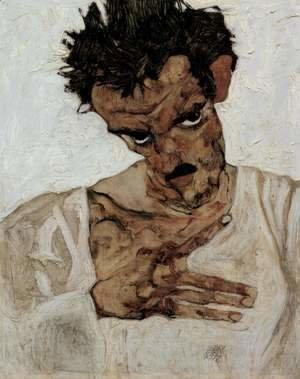 Egon Schiele - Self portrait with his head down